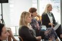 Na zdjęciu uczestnicy konferencji inaugurującej ponowne otwarcie CRT oraz uruchomienie programu ambasadorskiego, szkolni doradcy zawodowi i dyrektorzy gdańskich szkół